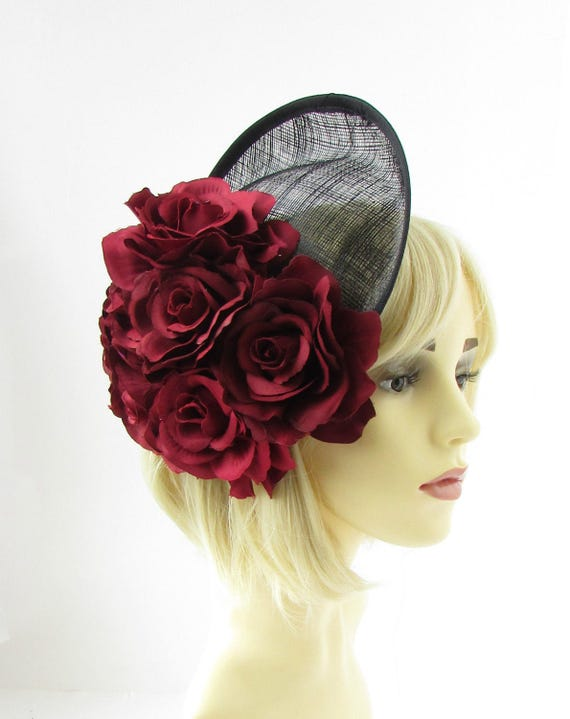 Large Burgundy Red Flower Black Saucer Disc Fascinator Hat  c6b13c627e2