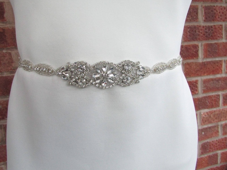 Silver Ivory White Pearl Bridal Wedding Dress Belt Diamante Rhinestone Sash 5135
