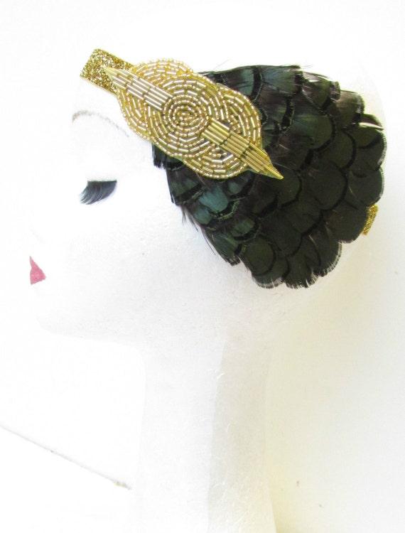 Plumes vert & or foncé bandeau Vintage 1920 casque clapet coiffe V11