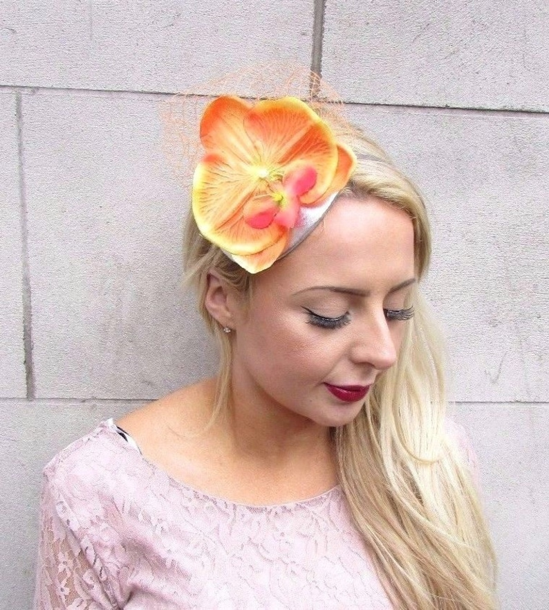 2d8d482900626 Orange Silver Orchid Flower Fascinator Net Hair Headband Races