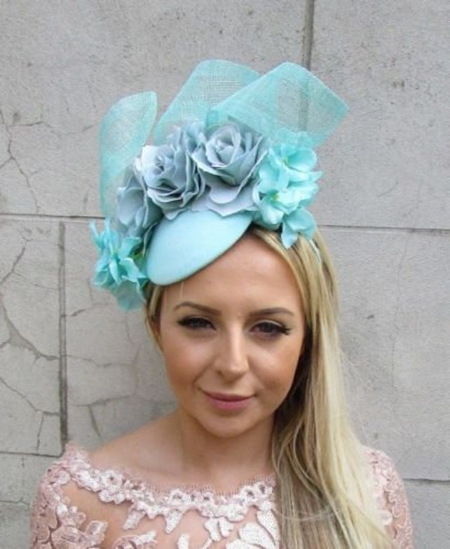 Mint Sea Green Hydrangea Rose Flower Hat Hair Fascinator Races Wedding 50s 5722