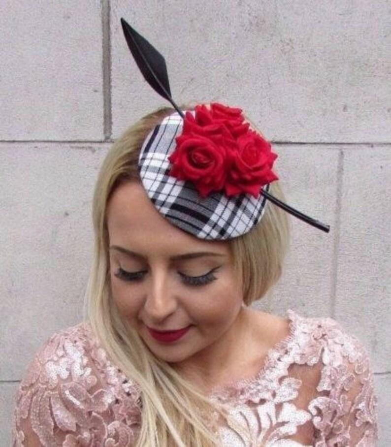 c33456bd2b958 Black White Red Rose Tartan Feather Fascinator Hat Hair Clip   Etsy