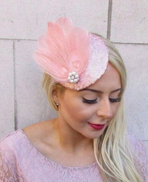 Rose Gold Blush Pink Cream Sequin Feather Fascinator Pillbox  b04f7b91fcb5