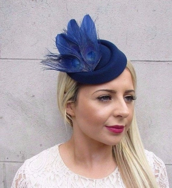 Navy Blue Statement Feather Pillbox Hat Hair Fascinator Races  afaced228531