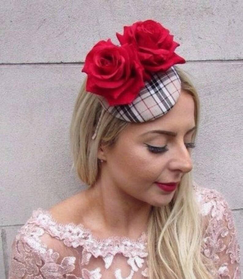 Beige Black Red Rose Tartan Plaid Flower Fascinator Hat Races Pillbox Hat 4572