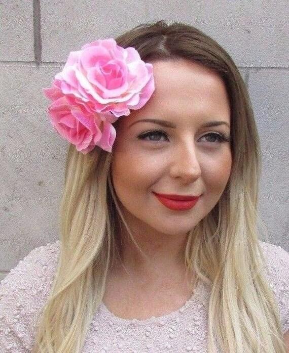 Large Double Hot Pink Rose Flower Hair Clip Rockabilly 1950s Vtg Fascinator 2724