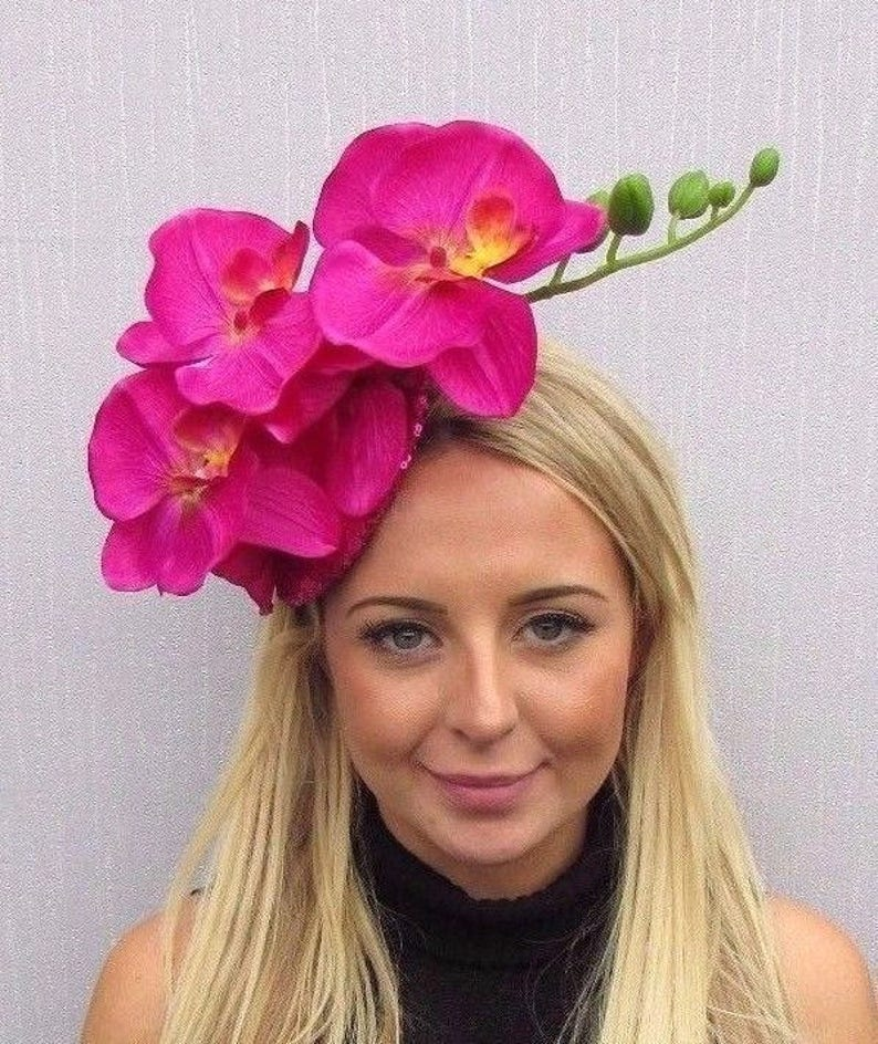 b1e35ac8 Hot Pink Orchid Flower Fascinator Hat Hair Clip Races Wedding | Etsy