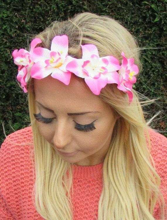 Pink White Orchid Flower Garland Headband Hair Crown Boho Etsy