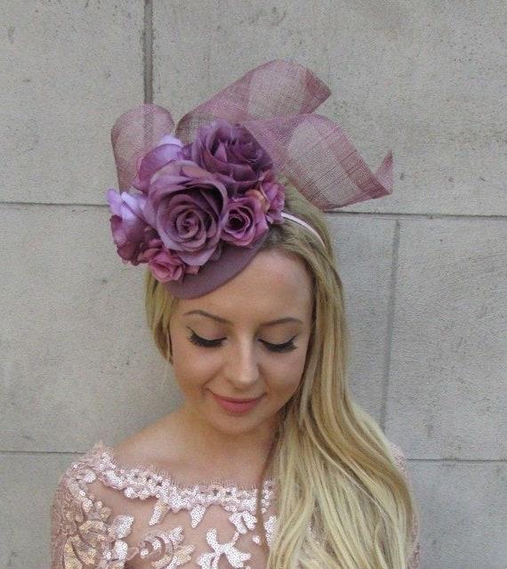 Dark Lilac Grape Purple Rose Flower Hat Fascinator Races  7535f21e745