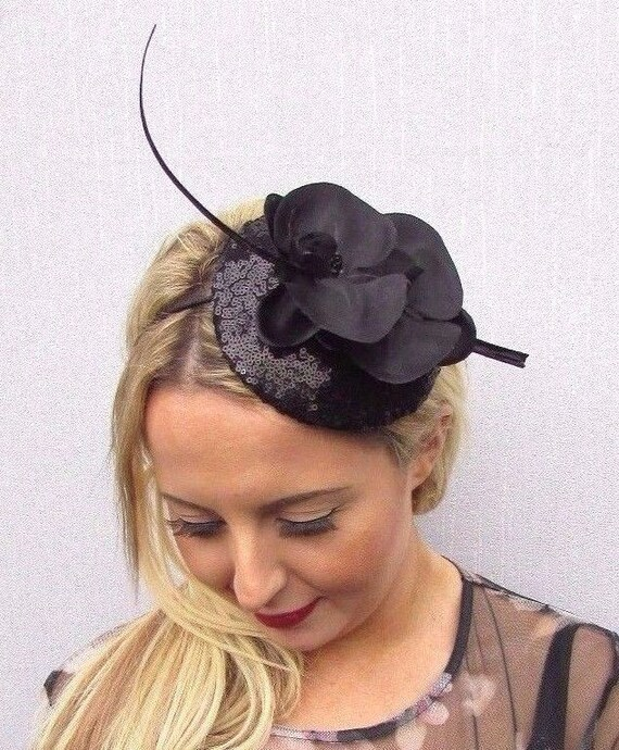 Black Sequin Orchid Flower Quill Feather Pillbox Hat  0d0265ff7e8