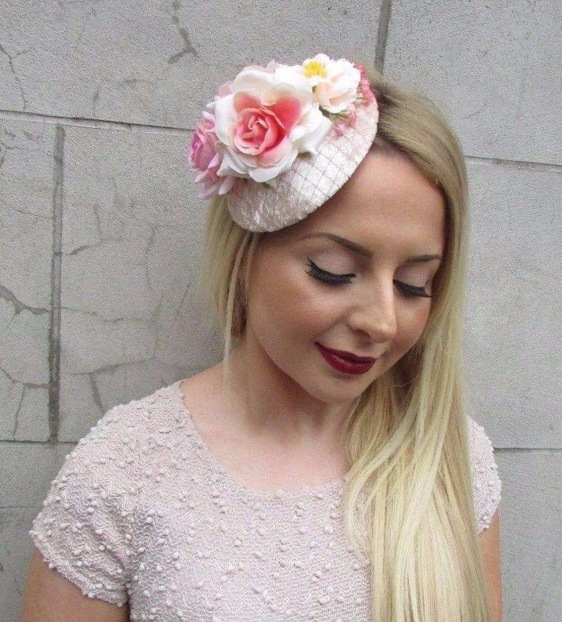 Blush Light Pink Peach Rose Flower Fascinator Hat Pillbox Hair Clip Vintage 2600