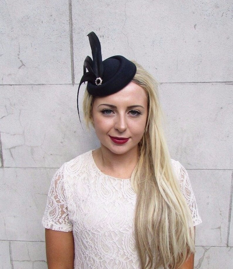 Black Statement Feather Pillbox Hat Hair Fascinator Races  ae4818a1182b