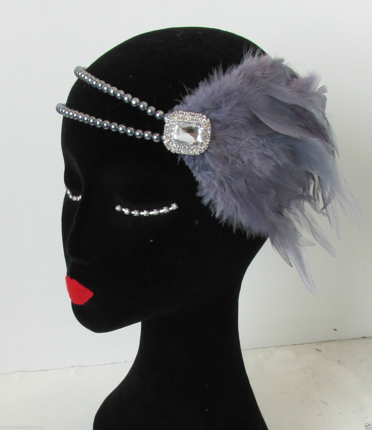 Silver Grey Feather Dress Headpiece Flapper 1920s Vintage ...