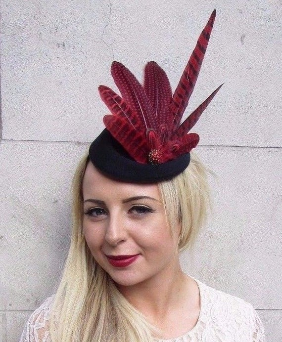 Red Black Pheasant Feather Pillbox Hat Hair Fascinator Races  6b568958412a
