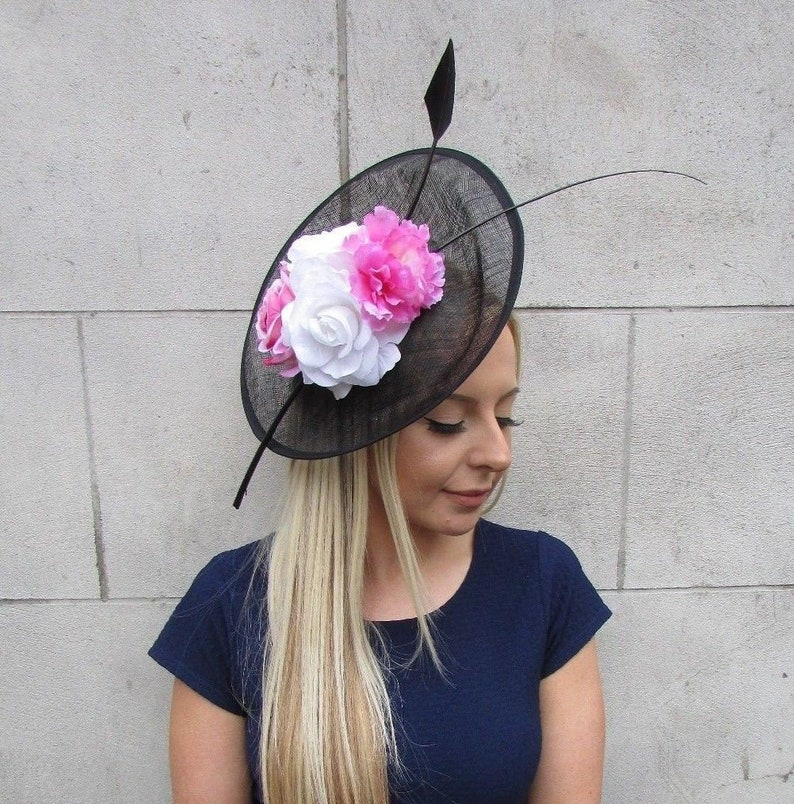 b670d00125d57 Large Black White Pink Feather Flower Sinamay Disc Saucer Hat   Etsy