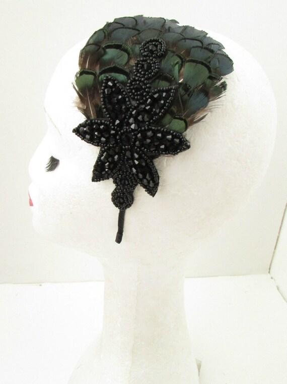 vert meraude fonc noir plume coiffe bibi bandeau vintage. Black Bedroom Furniture Sets. Home Design Ideas