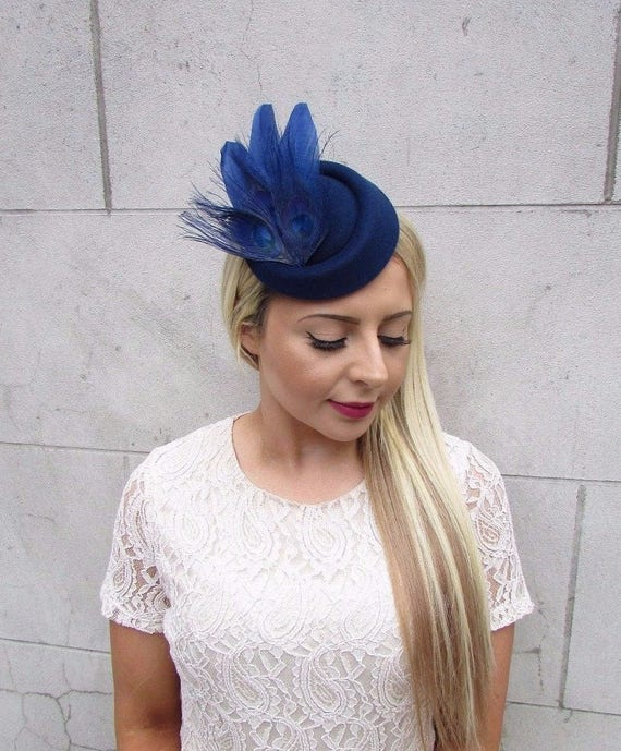 eac699ad42b Navy Blue Statement Feather Pillbox Hat Hair Fascinator Races
