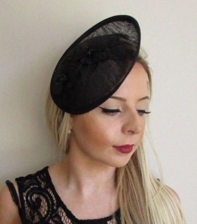 Black Beaded Sinamay Disc Saucer Hat Hair Fascinator Funeral Races Formal 5727