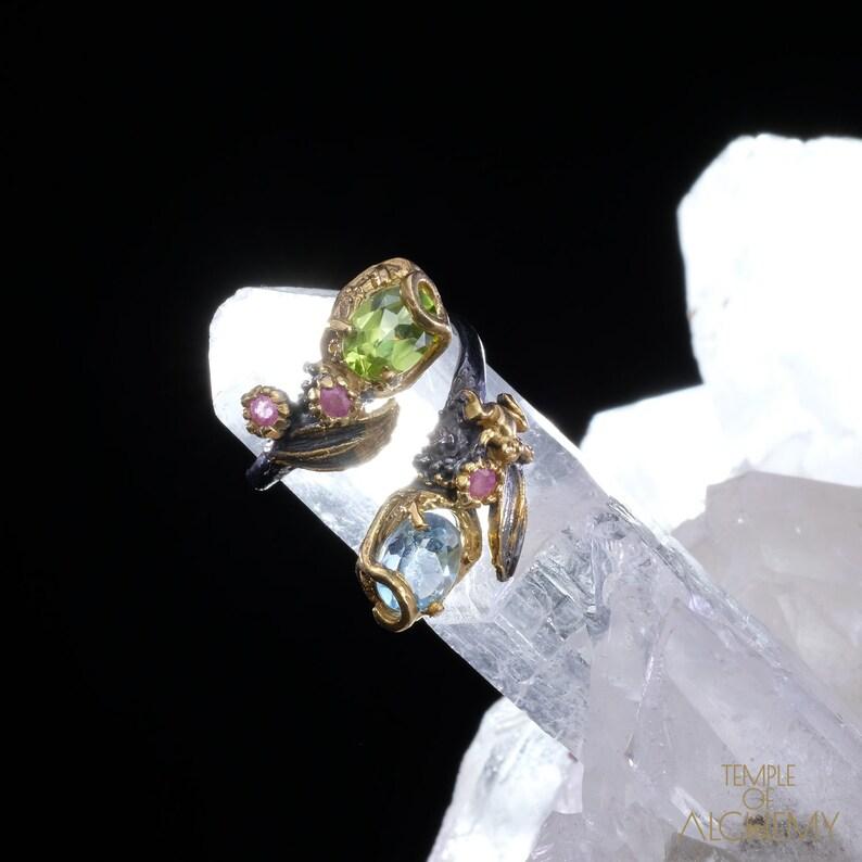 Rhodolite Garnet Ring Blue Topaz free size Free DHL Express Shipping*  7209gr1 Abundance /& Spiritual Insight Peridot