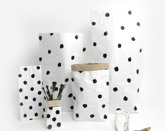 Dotted Paper Bag, decoration for scandi interior, eco, storagebags, papersack,