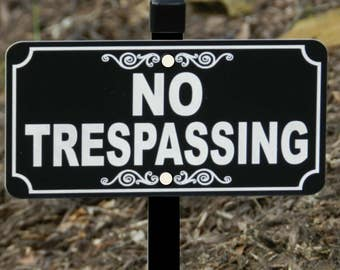 NO TRESPASSING Lawn Sign, No Trespassing Yard Sign