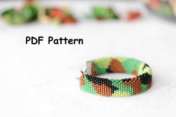 Pdf Pattern For Bead Crochet Bracelet Camouflage Etsy
