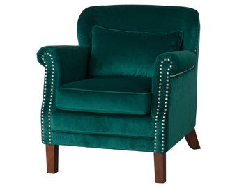 Free Shipping Emerald Green Velvet Studded Armchair, Seating, Luxury Chair,  Living Room Chair, Occasional Accent Chair, Fireside Comfort