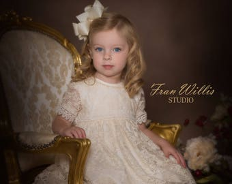 LOLA. (1T to 6Y+).Toddler.Girl.Ivory lace fabric,Guipur.Custom your OWN outfit.Flower dress.Christening Gown.Wedding.Heirloom.Communion.