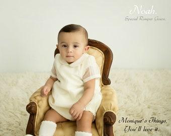 84da01c75 Romper Gown NOAH Baby boy organza & imperial batiste. Custom your OWN outfit.  Wedding.Baptism.Christening.Dedication.Blessing Bonnet cap bib