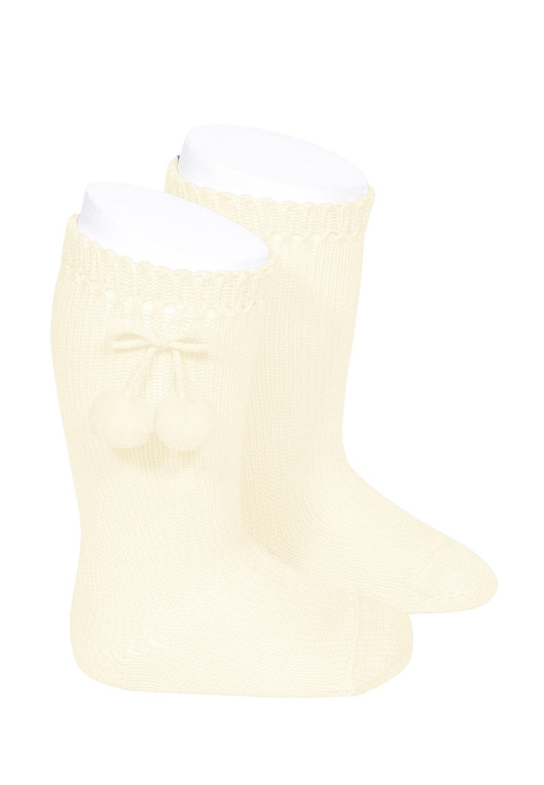 Customed Baby toddler and childs High Perl\u00e9 SOCKS with Pompons 100/% cotton thread Unisex MOD3 Special day or daily use Boy and Girl