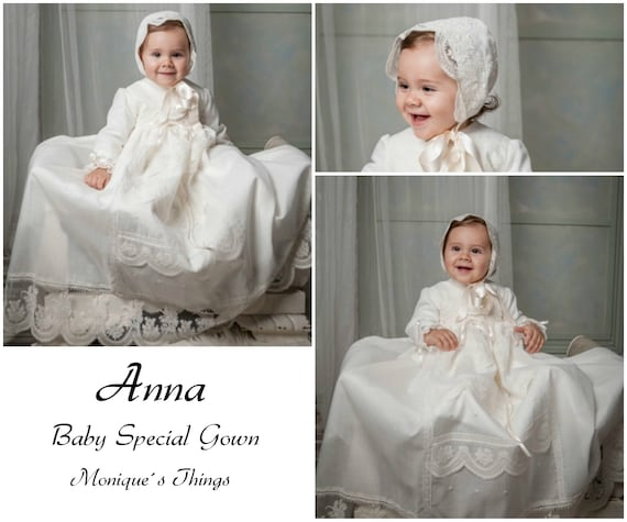 ANNA  Unique Baby Gown Nb-18M Unisex Custom your OWN outfit Special  celebration Christening gown Baptism Naming day Blessing Heirloom