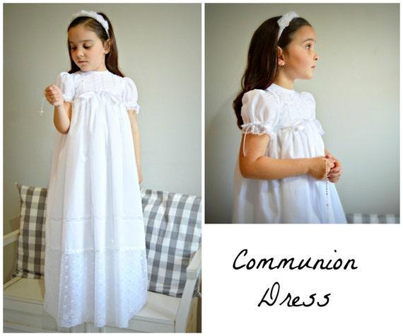 Girl Communion Dress Mod Nievesperial Batiste And Etsy