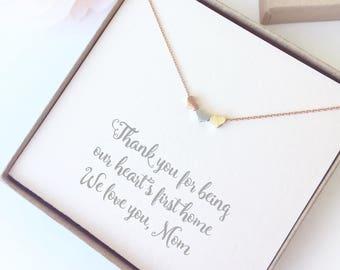 Three Hearts Mom Necklace - Heart Charm Necklace Gift Mom - Mom Necklace Quote Gift - Three Kids Mom Gift Necklace Heart - Mom Birthday Gift