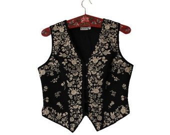 Women's Black Beige Cotton Vest  Embroidered  Waistcoat M/L Size