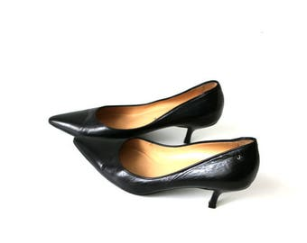 CHANEL Black Leather High Heel Shoes Elegant Business Office Pumps Women's Made in Italy Size 37.5/4.5/7
