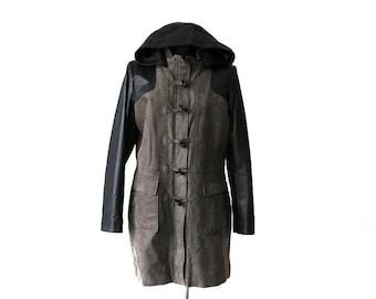 Suede Leather Parka Coat Black Gray Womens  Anorak Jacket Coat Hooded XL Size