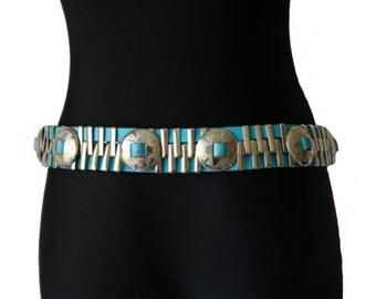 Taille hanche Boho Hippie accessoires détails en métal Vintage Turquoise  simili cuir ceinture femmes a233e76858a