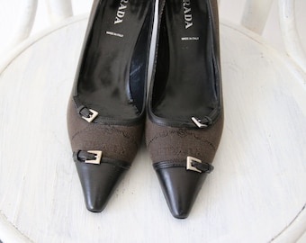 aac06c034eb7 PRADA Vintage Brown Black Canvas Leather Pointed Toe Shoes Womens Kitten  Heel 39 6 8.5