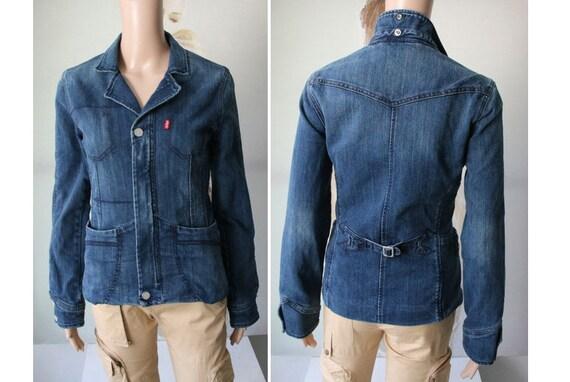 LEVI'S Blue Denim Blazer Women Jacket Small Size