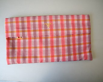 PRADA Cosmetic Bag Checkered Clutch Cosmetic Toiletry Pouch