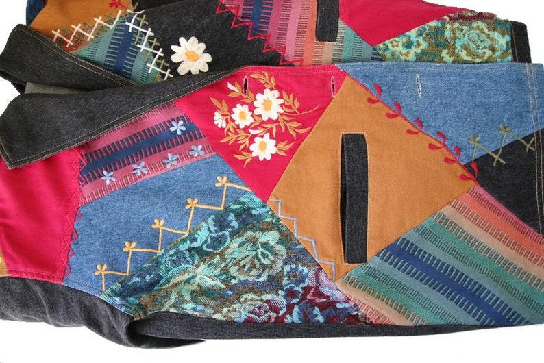Vintage Denim Gray Jacket Patchwork Blazer Embroidered Jacket Colorful Blazer Large Size