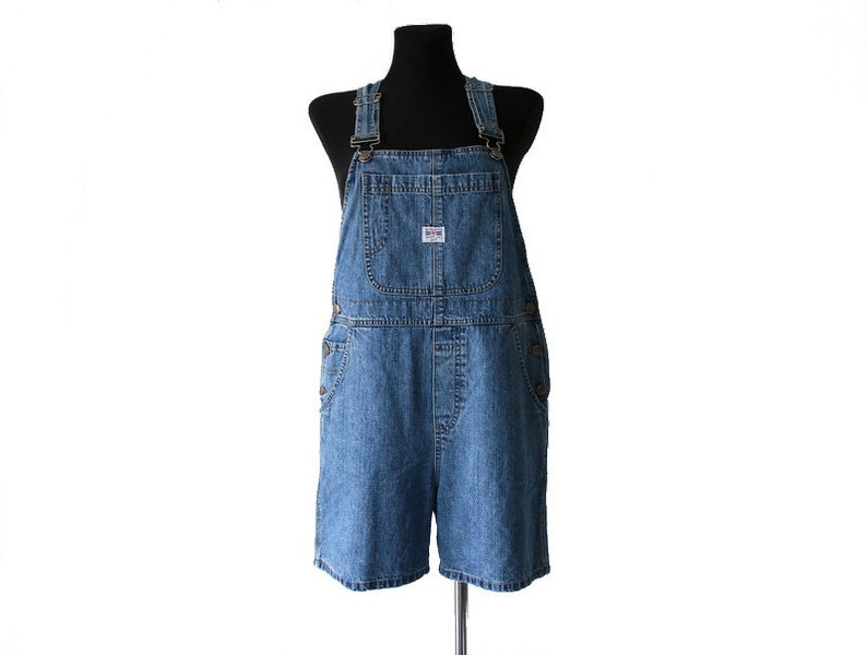 91a9492bb8e Vintage Women s Blue Denim Jean Shorts Overalls Jumpsuit