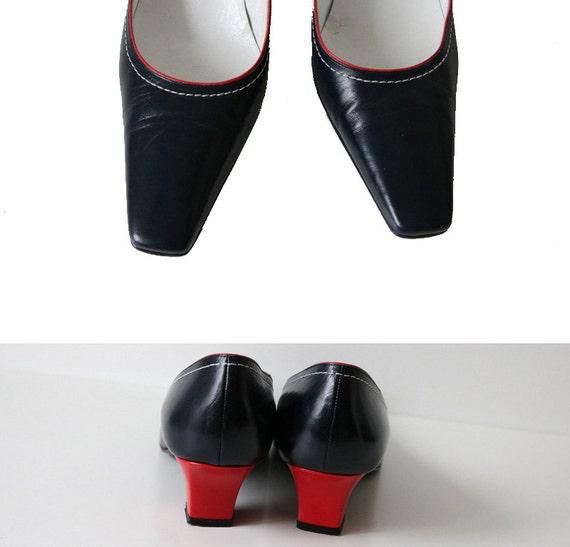 en Chaussures Heels Kitten VICARI rouge Italy bleu Made SANDRO marine cuir in ffqd6r