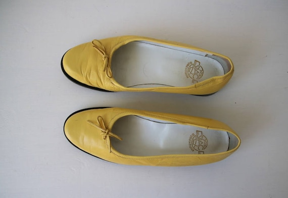 Vintage en jaune taille 5 4 bas chaussures talons 37 chaussures 6 cuir rrwqHd4