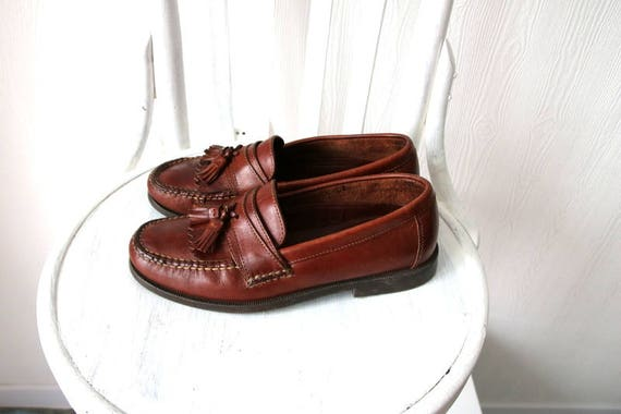 7 5M Moccasins Loafers Leather Vintage Brown Fringed Dexter Leather Size wnCaPgqF6