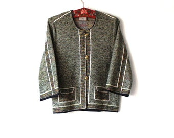 Soft Knitted Melange Cardigan Women Sweater 3/4 Sleeves Cardigan Large Size