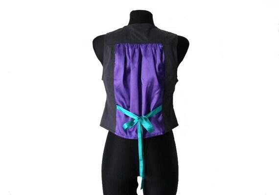 Womens Gray Purple Vest Cotton Formal Waistcoat M… - image 3