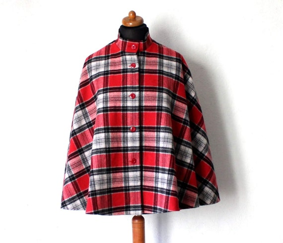 Vintage Draped Plaid Gray Black Red Cape Drape St… - image 1