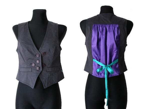 Womens Gray Purple Vest Cotton Formal Waistcoat M… - image 1