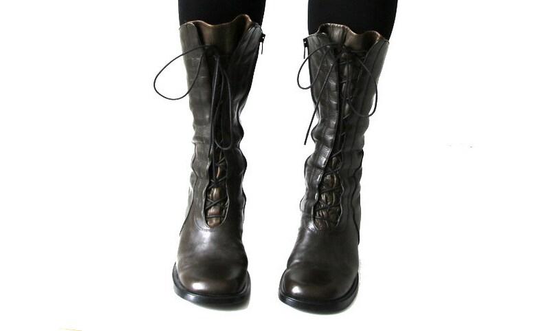 60f4e9b644d70 Vintage Khaki Leather Boots Lacing Shoes Urban Shoes Designers Shoes EUR 41  / UK 7 / US 9.5